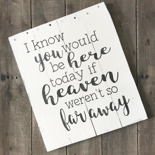 I know you would be here today If heaven weren't so far away sign, Farmhouse sign on Reclaimed Wood, inspirational sign, inspirational wall