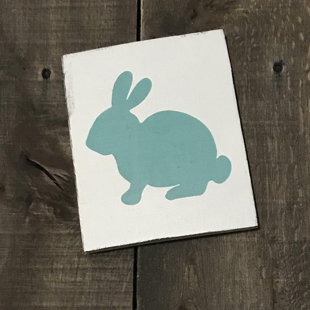 Aqua bunny vintage sign