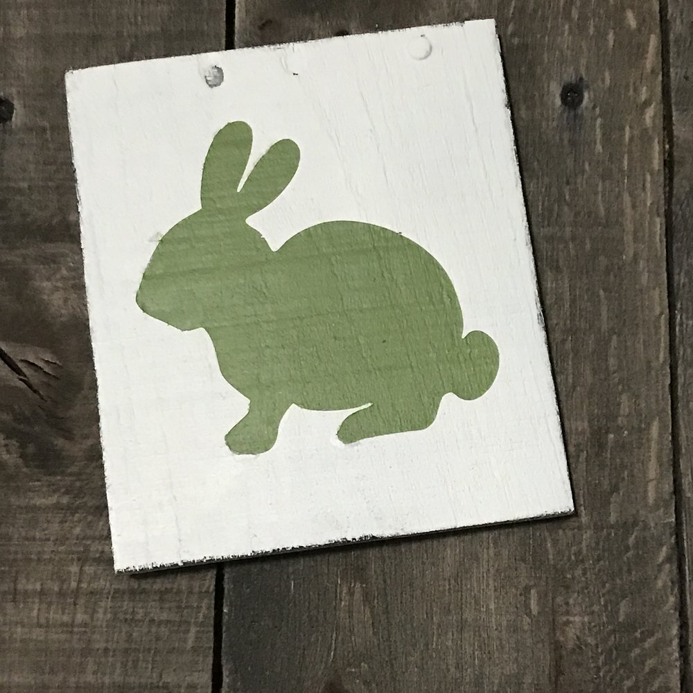 Green bunny vintage sign