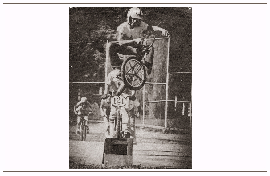 Doing a school jumping demonstration to promote BMX in 1976. Brad was photographed by the Omaha newspaper doing a cross-up