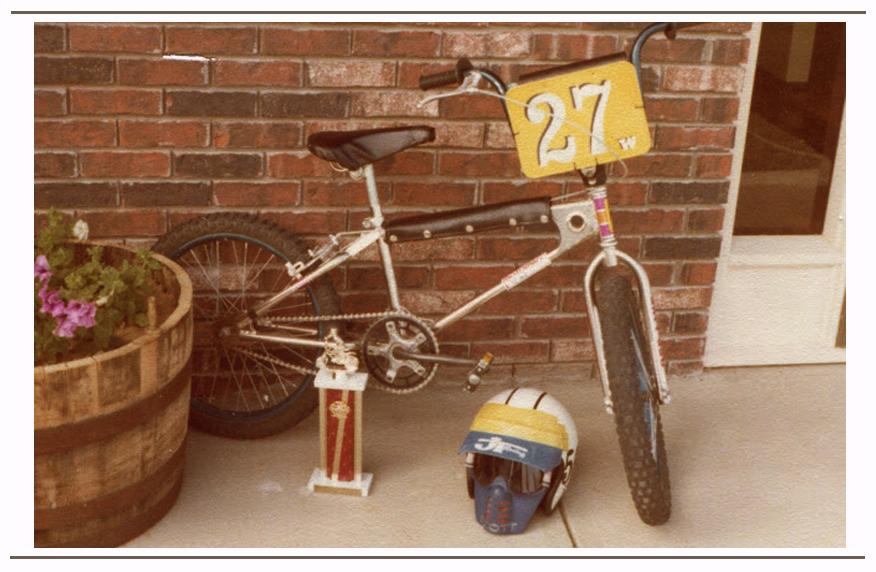 Vintage BMX racer; Mongoose frame, Redline forks, Ashtabula cranks and KKT pedals
