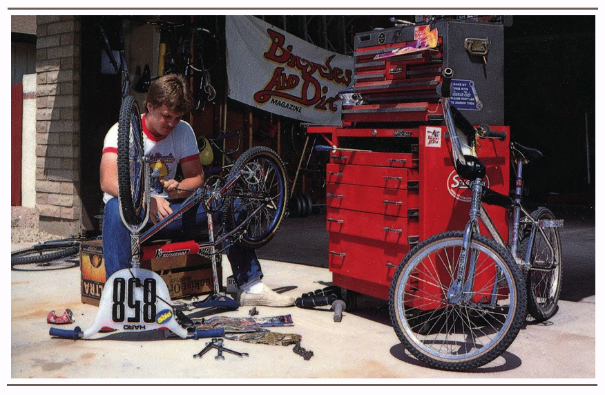 While working as Editor of ABA Action and Assistant Editor of Bicycles and Dirt Magazine, Brad was always working on test bikes.