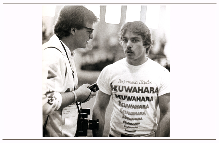 Brad is shown interviewing BMX Pro racer Clint Miller at the ABA Grand Nationals in the early 1980's.