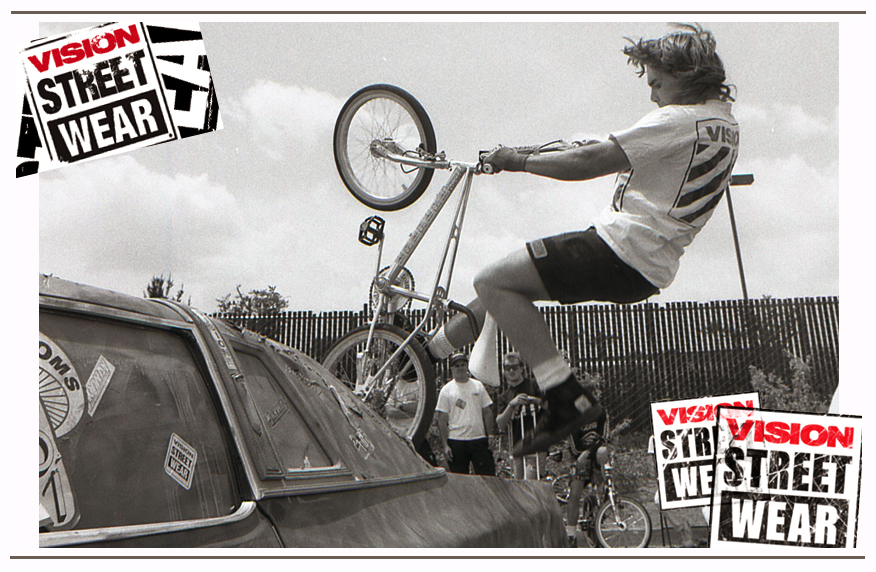 Vision was a big supporter of BMX and Freestyle, Brad shot Ron Wilkerson at a Vision 2-Hip King of Street event.
