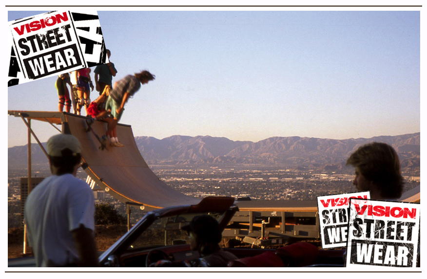 Above the San Fernando Valley in the Hollywood Hills shooting the Tom Petty, Free Falling video. Eric Nash skates the ramp while Tom Petty sits in the car.