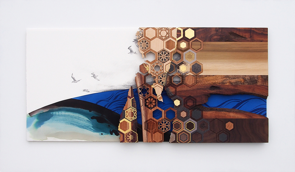 Sky Turns to Shore   gold leaf on laser-cut hardwood, hand-painted silk, graphite on paper  2015