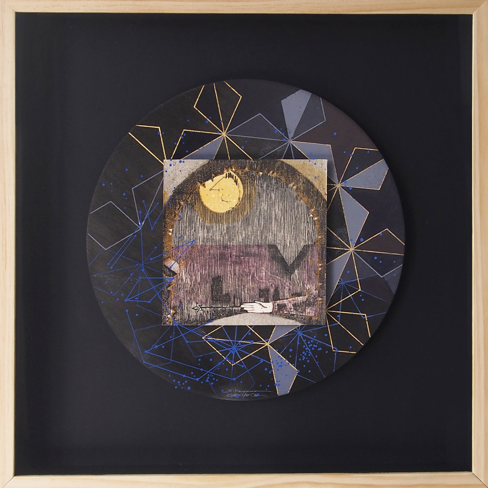 Jonathan Yukio Clark x Sayaka Kawamura   Sky Map   woodblock print, silkscreen print, acrylic, gold leaf on paper, wood  2014  20 x 20 in