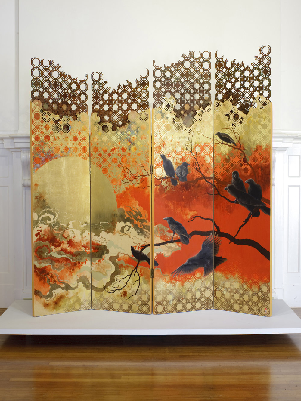 ʻAlala: Rise with the Sun   oil, acrylic, gold leaf, wood stain on panel with laser-cut steel  2011  72 x 72.5 in