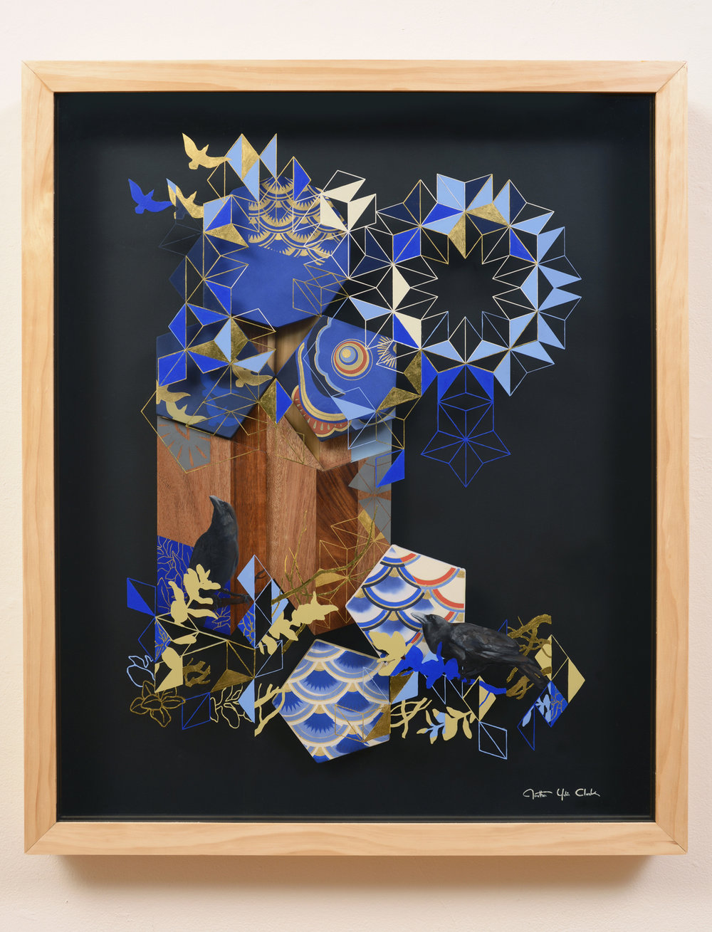 Uroko   oil, gold leaf, silkscreen print on wood, acrylic, silk  2013  37 x 31 in