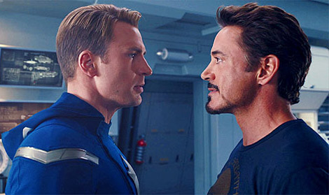 Captain America (Steve Rogers) squares off with Iron Man (Tony Stark) in Avengers