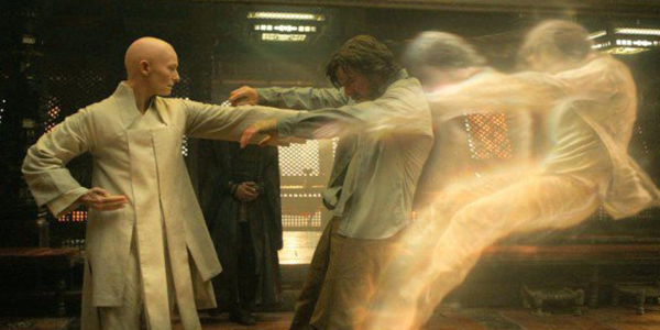 The Ancient One pushes Doctor Strange into his Astral Body