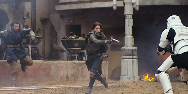 Jyn Erso Battles Stormtroopers in Rogue One A Star Wars Story