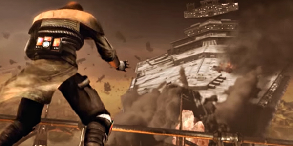 Starkiller uses the Force to pull down a Star Destroyer in The Force Unleashed video game
