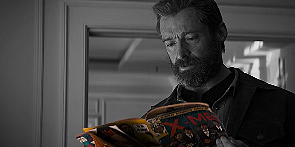 Wolverine reads the X-men comic in LOGAN