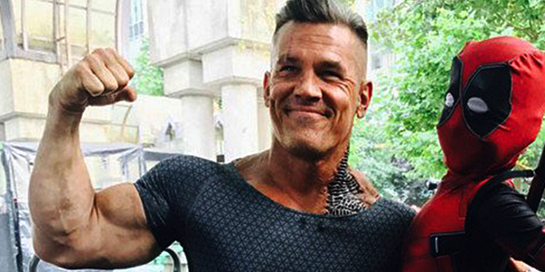 Josh Brolin as Cable with Deadpool fan on the set of Deadpool 2