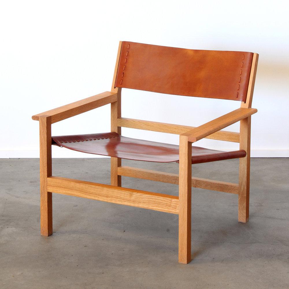 Boyd Oak Leather Lounge Chair