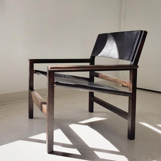 The Boyd Chair in Noir - Oxidized white oak, beeswax polished blackened leather, brass 🖤