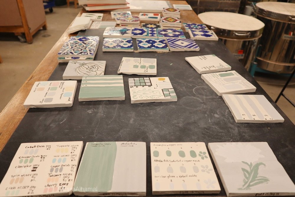 Making glaze test tiles