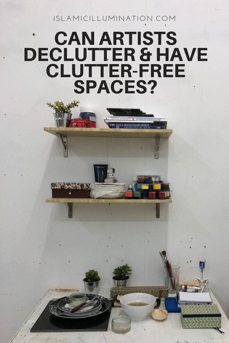 Can artists declutter and have a clutter-free spaces?  #ClutterFree #Declutter #Minimal #Tidy #Artist #Workspace #ArtStudio