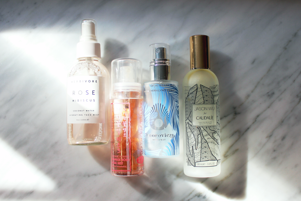 (L-R): Face mists from Herbivore Botanicals, Whamisa, Omorovicza, and Caudalie.