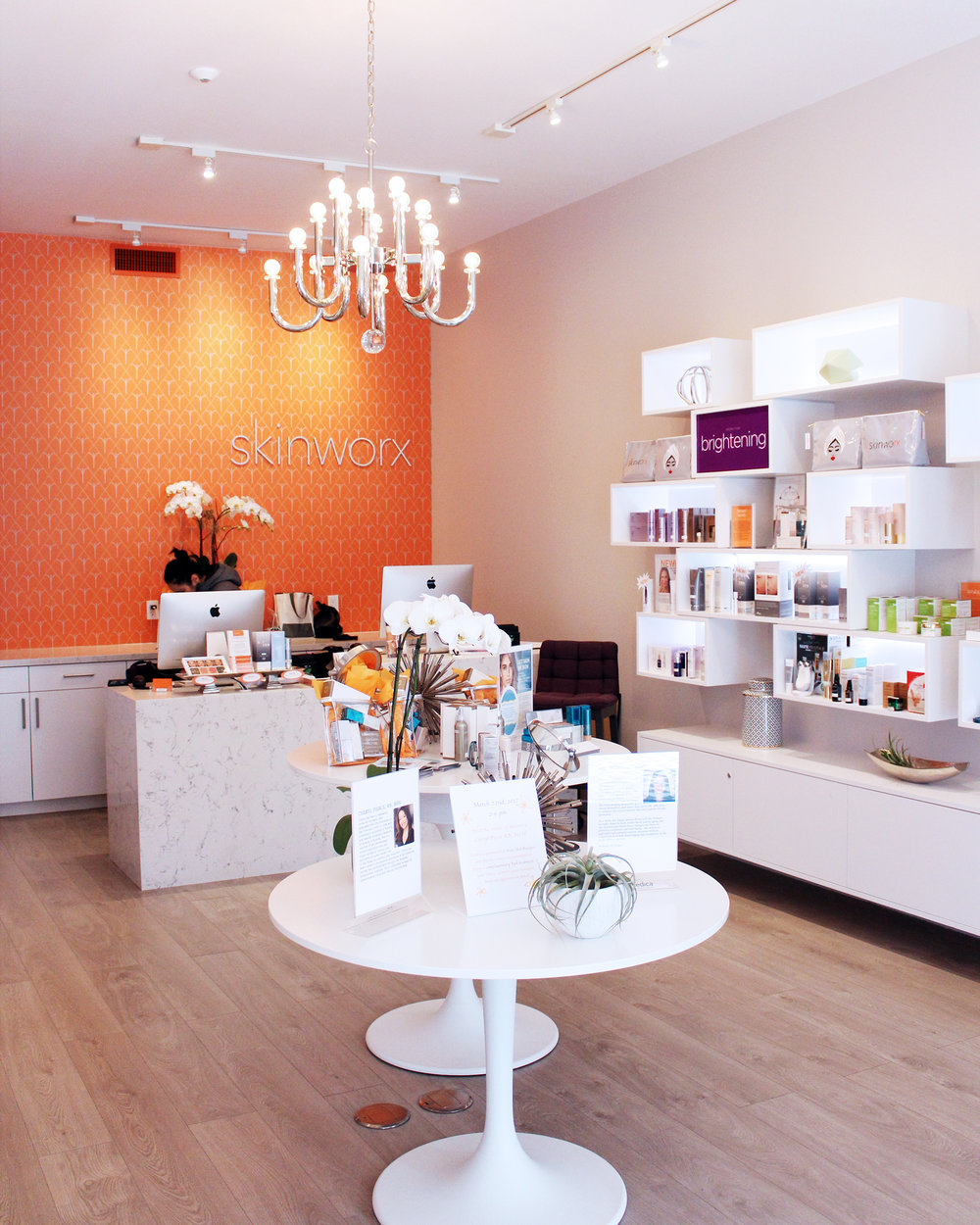 The bright, airy interior of Skinworx at Cow Hollow, SF.