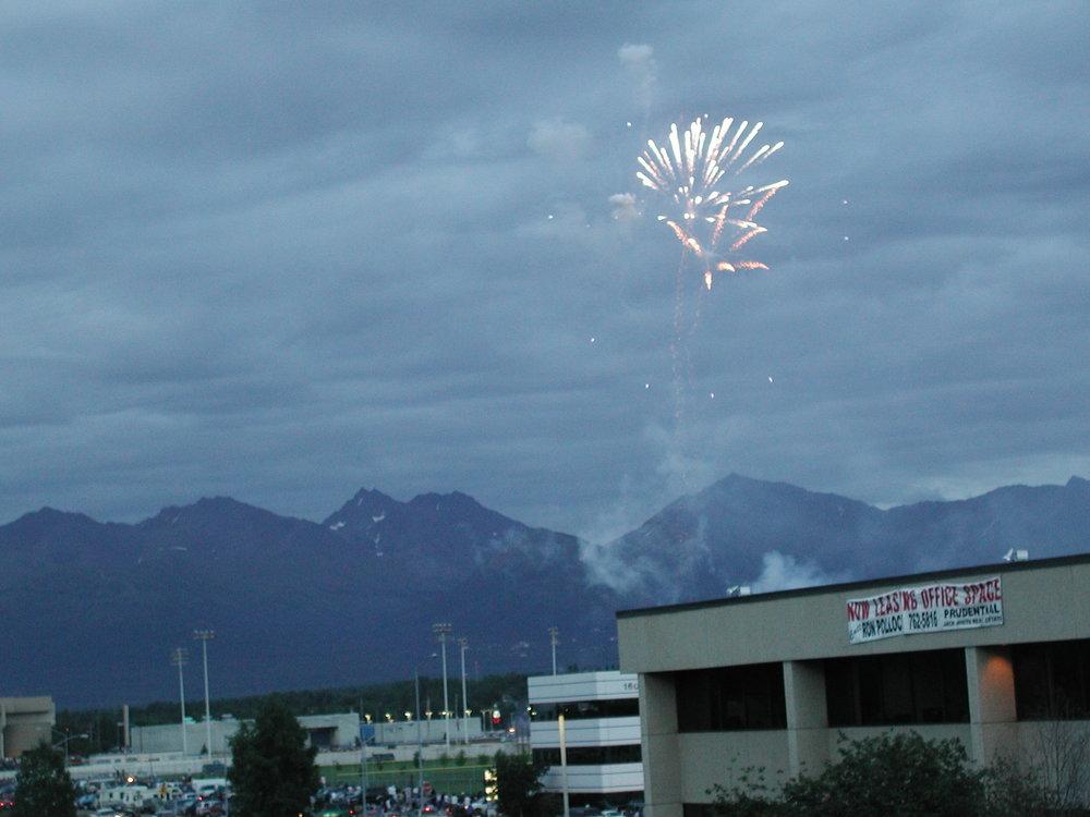 Fireworks in Alaska. Midnight sun!