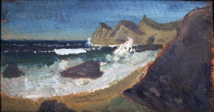 """Gordon Onslow Ford, Untitled, 1923, oil on wood, 5"""" x 9 9/16"""", Gordon Onslow Ford Collection, Lucid Art Foundation"""