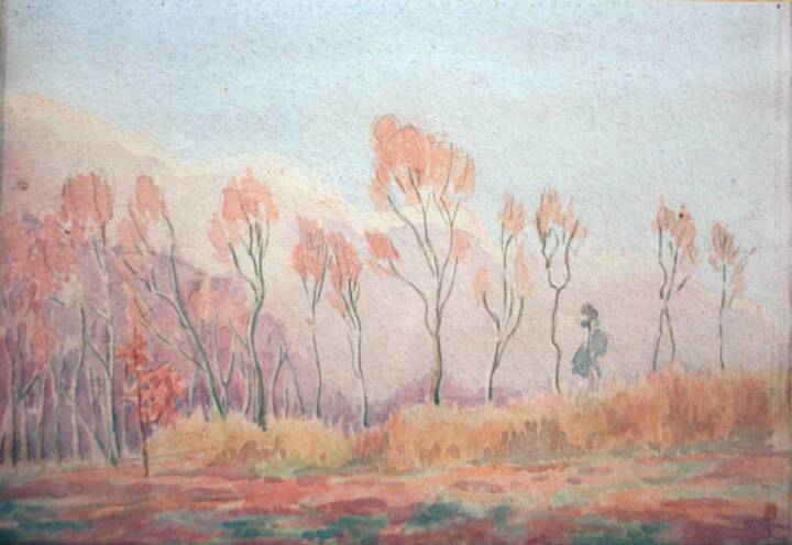 """Gordon Onslow Ford, HALE WOODS, 1925, watercolor/paper, 6 3/4"""" x9 3/4"""", Gordon Onslow Ford Collection, Lucid Art Foundation"""