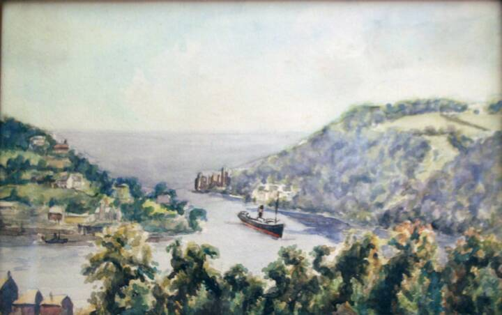 "Gordon Onslow Ford, DARTMOUTH CASTLE FROM THE R.N.C (ROYAL NAVAL COLLEGE), c.1927, watercolor/paper, 5 3/8"" x 8 7/8"", Collection of Lucid Art Foundation."