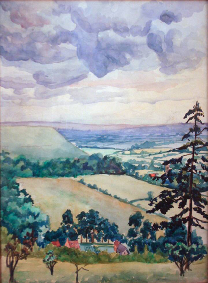 "Gordon Onslow Ford, HALE WOODS, 1925, watercolor/paper, 6 3/4"" x9 3/4"", Collection of Lucid Art Foundation."