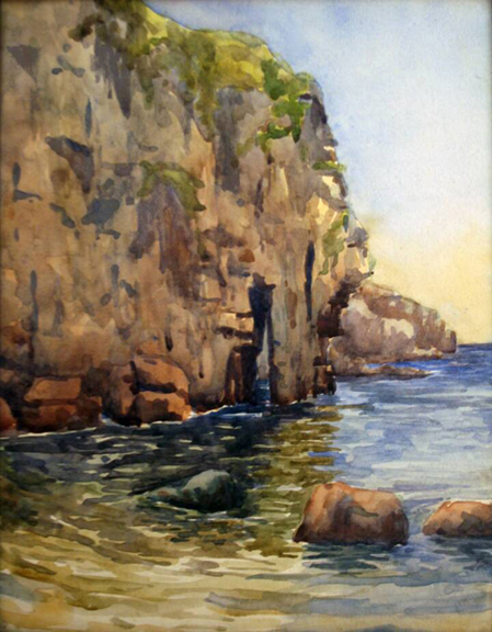 """Gordon Onslow Ford, ELEPHANT ROCK, 1927, watercolor/paper, 11 1/8"""" x 8 5/8"""", Gordon Onslow Ford Collection, Lucid Art Foundation"""