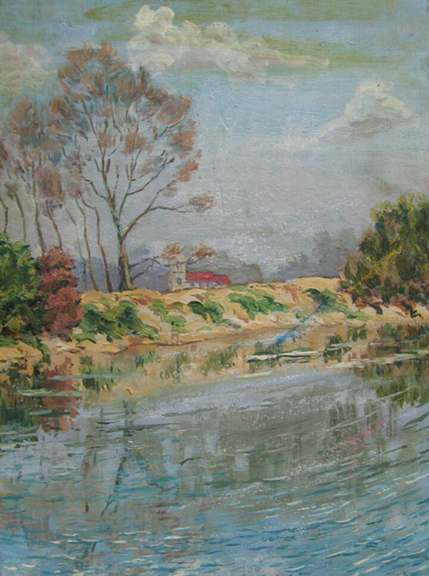 "Gordon Onslow Ford, CHURCH ABOVE THE POND, circa 1927, pastel/board, 12 1/16"" x 8 7/8"", Collection of Lucid Art Foundation."