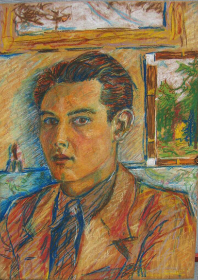 "Gordon Onslow Ford, SELF PORTRAIT, 1928, pastel/board, 12 1/16"" x 8 7/8"". Collection of Lucid Art Foundation."