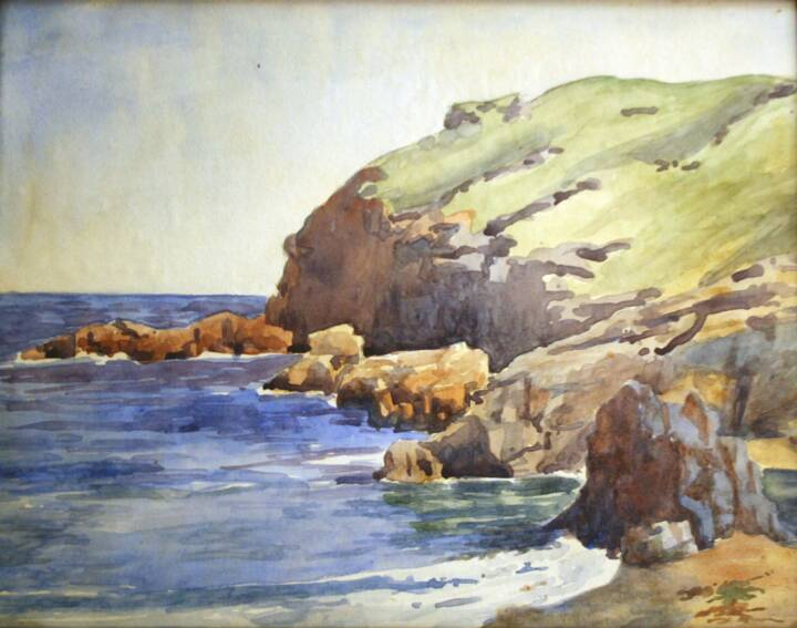 """Gordon Onslow Ford, MERLIN'S CAVE, 1928, watercolor/paper, 8 5/8"""" x 11 1/4"""", Gordon Onslow Ford Collection, Lucid Art Foundation"""