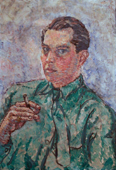 "Gordon Onslow Ford, SELF PORTRAIT, 1932, oil/canvas, 22 3/4"" x 15 1/2"", Collection of Lucid Art Foundation."