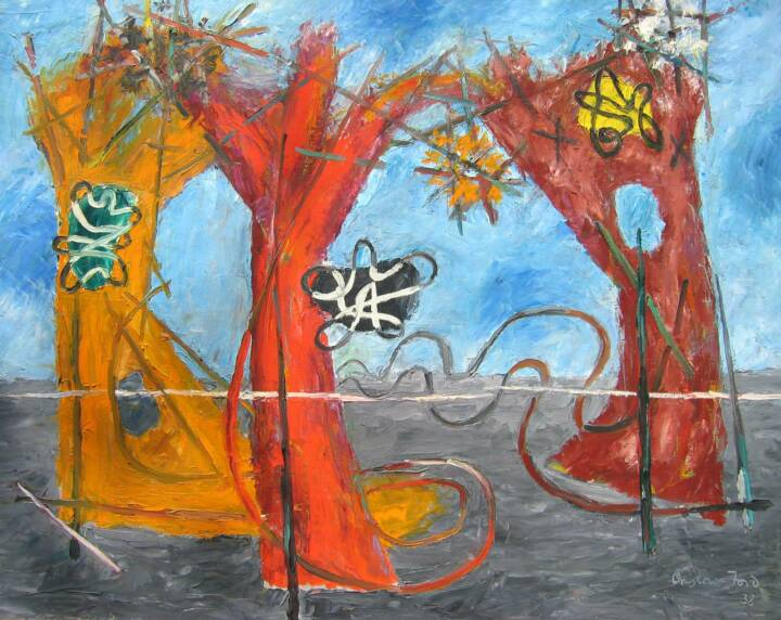 """Gordon Onslow Ford, 3 TREES MOVE ALONG, 1938, oil/canvas, 28 3/4"""" x 36 1/8"""", Gordon Onslow Ford Collection, Lucid Art Foundation"""