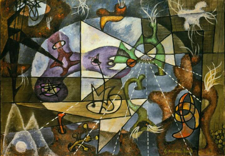 "Gordon Onslow Ford, CYCLOPTOMANIA, 1940, oil/canvas, 35"" x 50"", Private Collection."