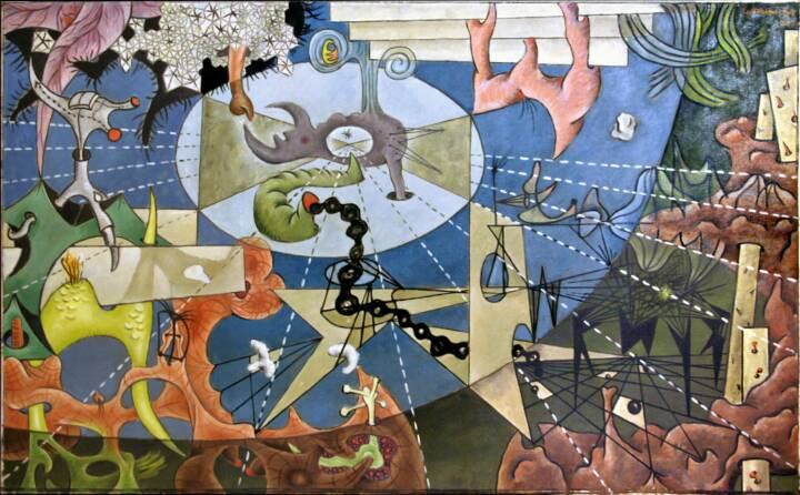 "Gordon Onslow Ford, PROPAGANDA FOR LOVE, 1940, oil/canvas, 41 1/4"" x 66 1/2"", Collection of Lucid Art Foundation."