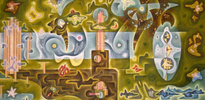 "Gordon Onslow Ford, LUMINOUS LAND, 1943, oil/canvas, 39 1/4"" x 78 1/2"", Collection of Lucid Art Foundation."