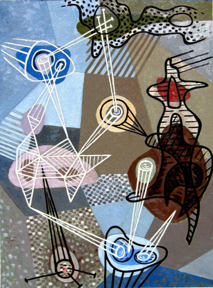 "Gordon Onslow Ford, THE DIALOGUE OF CIRCLE MAKERS, 1944, oil/canvas, 46"" x 35"", Private Collection."
