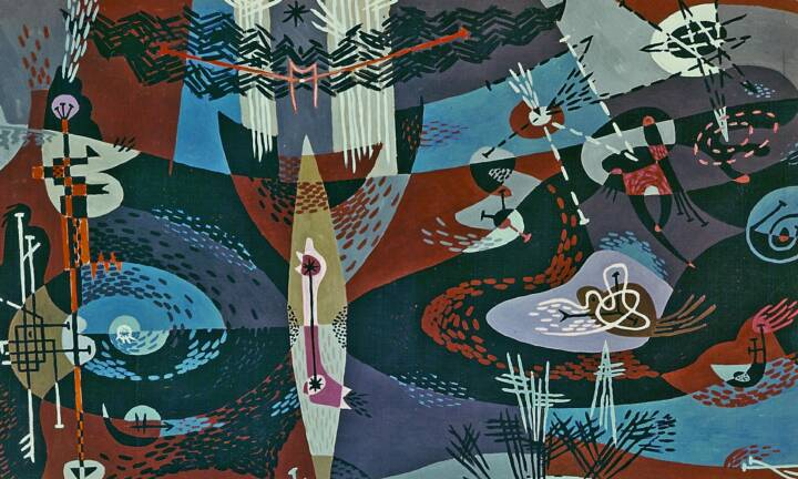 """Gordon Onslow Ford, FUTURE OF THE FALCON (VERS II), 1948, casein/board, 37 7/8"""" x 59 3/4"""", Gordon Onslow Ford Collection, Lucid Art Foundation"""