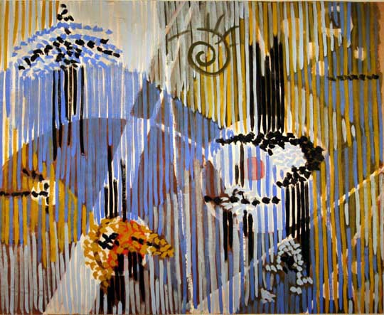 "Gordon Onslow Ford, CLEAR BIRD, 1950, casein/butcherpaper, 36"" x 44"", Gordon Onslow Ford Collection, Lucid Art Foundation"