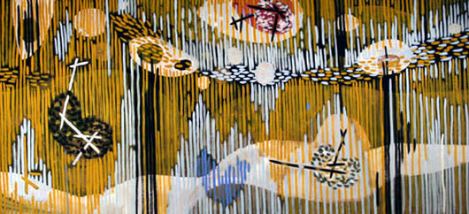 """Gordon Onslow Ford, NEW BIRD SONG, 1950, casein/brownpaper, 36"""" x 76"""", Gordon Onslow Ford Collection, Lucid Art Foundation"""