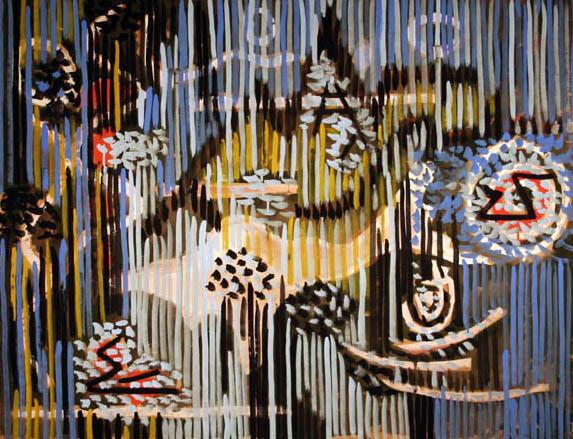 "Gordon Onslow Ford, CHILDREN OF THE LANDSCAPE, 1950, casein/brownpaper, 33"" x 41"", Gordon Onslow Ford Collection, Lucid Art Foundation"