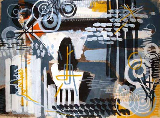 "Gordon Onslow Ford, TRAVELLING YEARS, 1953, casein/mulberrypaper, 34"" x 48"", Collection of Lucid Art Foundation."