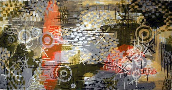 """Gordon Onslow Ford, DRAGON OF THE PLACE, 1955, casein/paper/linen, 35 3/4"""" x 54 3/8"""", Gordon Onslow Ford Collection, Lucid Art Foundation"""