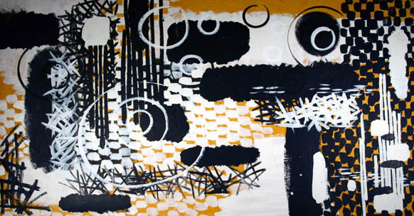"Gordon Onslow Ford, BIRTH OF THE EARTH, 1958, parlespaint/mulberrypaper, 33"" x 62"", Collection of Lucid Art Foundation."