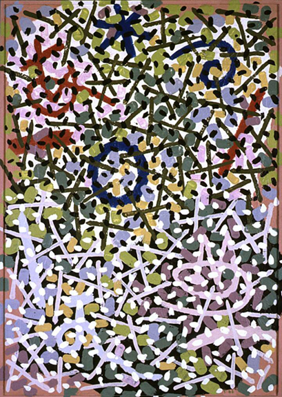 "Gordon Onslow Ford, SPACE IN BLOOM, 1966, acrylic/board, 61 1/4"" x 43 1/4"", Private Collection."
