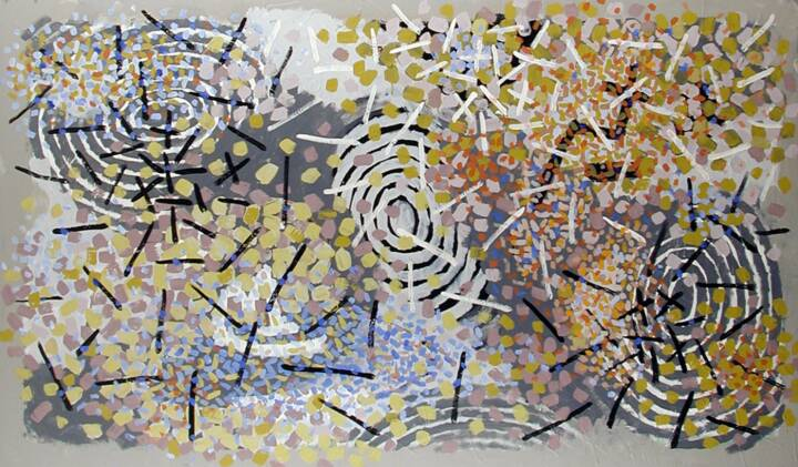 "Gordon Onslow Ford, IN CONTACT, 1966, acrylic/paper, 47 1/2"" x 80"", Private Collection."