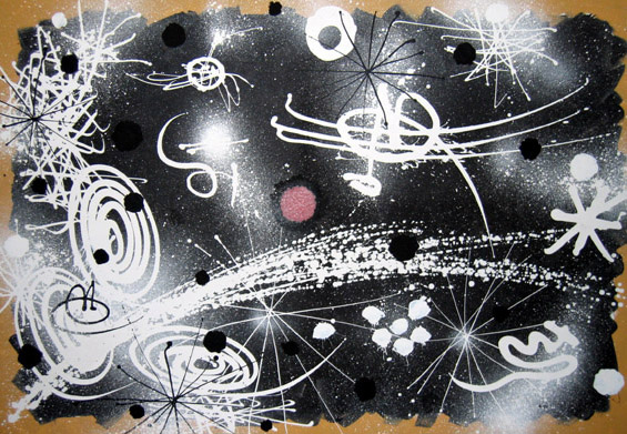 """Gordon Onslow Ford, 1971-015 titled VOYAGERS IN SPACE, 1971, acrylic/canvas, 50 ¾"""" x 74 ¼"""", Gordon Onslow Ford Collection, Lucid Art Foundation"""